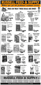 Russell Feed October Newspaper Ad Specials